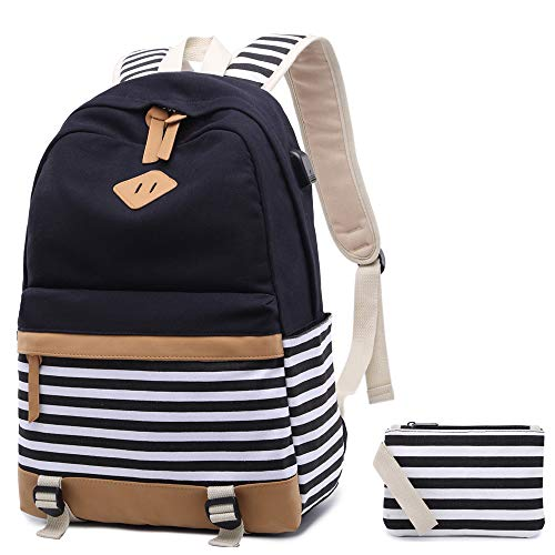 Netchain Schulrucksack Canvas Rucksack Backpack Schulranzen für Mädchen Streifen Schultasche Segeltuch Rucksack mit 15.6 zoll Laptopfach, USB Charging Port(Schwarz)