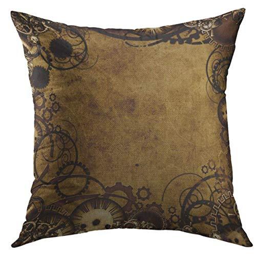 f4995f571fd DDOBY Funda de Almohada Marrón Industrial Steam Punk Style Vintage  Victorian Cuadrado Throw Pillow Cover para