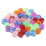 F Fityle 50er Set Mini Perlen Acryl Beads Bastelperlen Würfel Spacher Perlen Dekoperlen Kinderschmuck