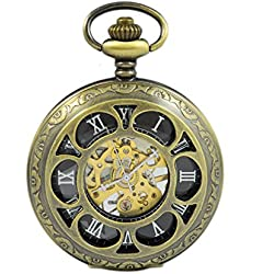 Lady's Gift Brass Six Petals Half Hunter Steel Hollow Skeleton Hand Wind Mechanical Watch Round Necklace Chain.