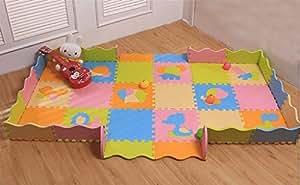 Bigood 18pcs Puzzle Tapis de Jeux Bébé Enfant Mousse Ramper 30x30x1.4cm Multicolore