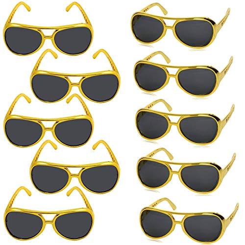 German Trendseller® - 1 x Rapper Gold Brille - UV400 ┃ Gangster ┃ Party ┃ Sonnenbrille ┃ Rapper ┃ USA ┃ 1 Stück