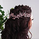 Kercisbeauty - Diadema con cuentas de cristal rosa vintage, hecha a mano, para novia, novia, boda, playa