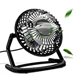 omitium Mini Ventilateur, Ventilateurs USB De Table Silencieux Ventilateur Portable 4' Mini Fan de Bureau Plastiques Fan Compatible PC, Ordinateur Portable - Noir