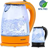 Monzana® Wasserkocher Teekessel Teekocher • 1,7 L • orange • 2200W • LED Innenbeleuchtung • 360° kabellos • BPA frei