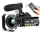 : Camcorder 4K Wifi Ansteker Ultra-HD Digital Camera Video 1080P 13MP 30FPS IR Night Vision Camcorder with Microphone and Wide Angle Lens and Lens hood
