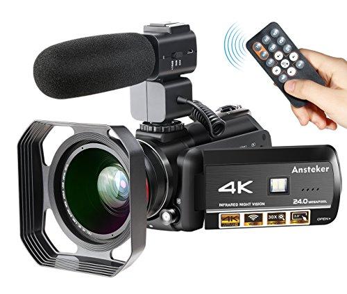 Videocámara 4K WiFi Ansteker Ultra-HD Cámara Digital Vídeo 1080P 13MP 30FPS IR Visión Nocturna Videocámara con micrófono y Lente Gran Angular y Parasol