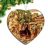Hqiyaols Ornament Tombe dei re Paphos Cipro Ornamenti Natale A Forma di Cuore Foglio Ceramica Souvenir Giro Ciondolo Ornamento Regalo