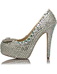 Zapatos Del Banquete De Boda De La Primavera Del Otoño Para Las Mujeres Apliques Crystal 10CM Tacones Altos Plataforma...