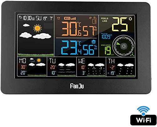 Knoijijuo Estación meteorológica inalámbrica con Sensor de Exterior y Control App SmartWeather Monitor...