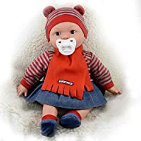 "The Magic Toy Shop 16"" Realistic Lifelike Baby Dolls With Freckles Soft Body Vinyl Doll with Sounds and Dummy (Girl Doll)"