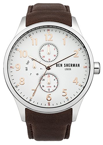Ben Sherman Men's Quartz Watch with White Dial Analogue Display and Brown Leather Strap WB004BR