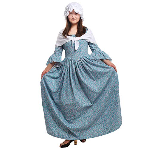 GRACEART Pionier Colonial Woman Kostüm Kleid (14, Blue)