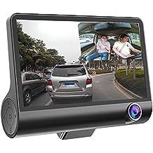 Zibuyu 1080P Hd 170Degree 3 Lens Car Dvr Dash G-Sensor Recorder+Rearview Cam,4 Inches(Black,Zibuyu-189159)