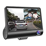 Zibuyu 4 Inches 1080P Hd 170° 3 Lens Car Dvr Dash G-Sensor Recorder+Rearview