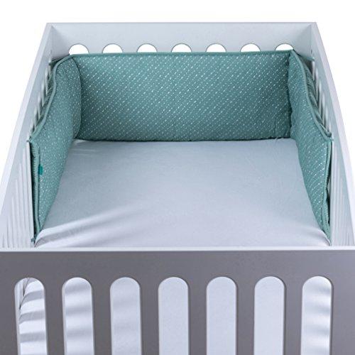 Urban Kanga Babybettumrandung für Netschen | Kopfschutz Babybett | 190 X 28 cm (Grüne Punkte)