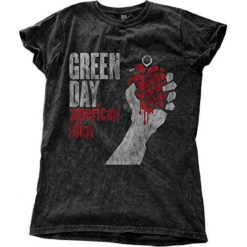 Green Day - Camiseta - Estampado - para mujer negro negro Ajuste Flaco S