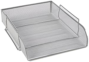 Shine Silver Mesh Filling Front Load 3 Trays Letter File Storage Rack Holder Tray Organiser Desktop Office