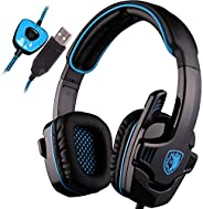 SADES SA901 Over Ear USB Wired 7.1 Surround Noise Cancelling PC Gaming Headset with Microphone (Black/Blue) LY