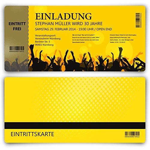 Einladungskarten zum Geburtstag (100 Stück) als Eintrittskarte Party Ticket Karte Einladung