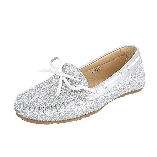 Ital-Design Mokassins Damen-Schuhe Geschlossen Moderne Halbschuhe Silber, Gr 40, 477-Bl-