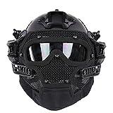 XLORDX Fast PJ Typ Tactical Helm mit Maske und Schutzbrille für Freizeit Sport Militär Paintball Airsoft Sturzhelm Unisex Camouflage CS Outdoor