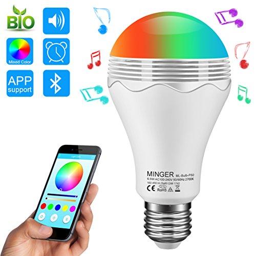 Intelligente Musik führte Glühlampe, MINGER 6.5W A19 RGB + W Farbändernde geführte Lichter mit Lautsprecher 3W Bluetooth, vervollkommnen für Schreibtisch-Lampe, Schlafzimmer, Klavier, Hotels, Speicher [Energieklasse A+] (Lampe Speicher)