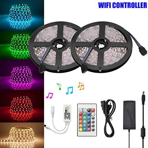 LED Strip Set Wifi RGB Controller Kit, Smart RGB LED Streifen Lichtleiste, für Alexa, IFTTT, Google Home Smartphone, 12V 10M 5050SMD LED Bänder Lichterkette mit Netzteil & Controller,wasserdicht IP65