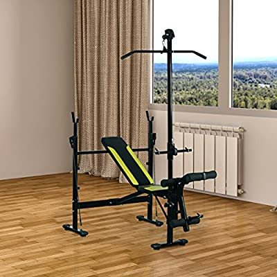 HOMCOM Heavy Duty Universal Adjustable Multi Gym Chest Leg Arm Weight Bench w/ Lat Attachment - Black / Green by Sold By MHSTAR