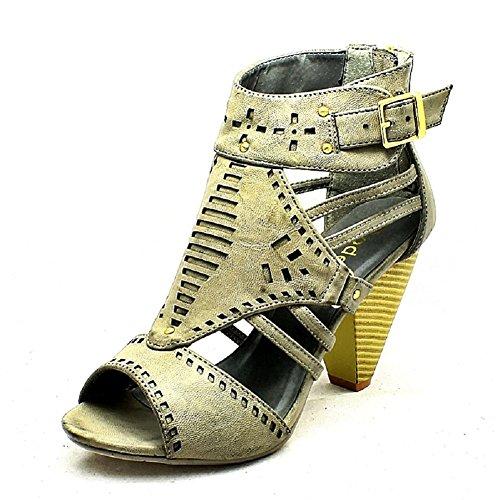 Gris Chaussures à talons compensés avec bout ouvert Grey