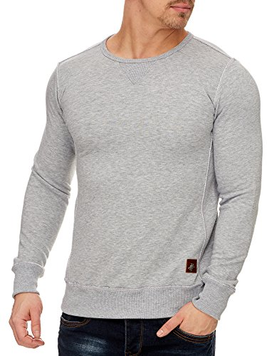 TAZZIO Herren Rundhals Sweatshirt Pullover Hoodie 16211 Grau