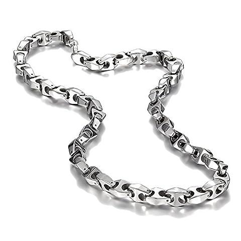 Unique Astro Snake 56 cm Men's Silver Toned Tungsten Link Necklace Chain (Heavy, Solid)
