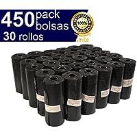 BriMix 450 Bolsas para excrementos de perros Color Negro. Fácil de separar. 30 rollos x 15 bolsas/rollo. Poop bags para recoger la caca de su perro o heces de las mascotas