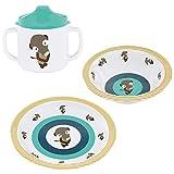 Lässig Kindergeschirr 3er- Set Wildlife Meerkat // Lässig Baby`s Schale & Esslern-Teller // Lässig Schnabeltasse mit Doppelgriff // 100% Melamin