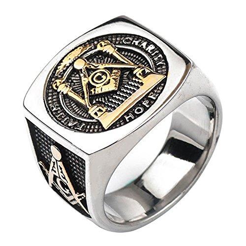 FORFOX Herren Breit Bicolor Titan Freimaurer Ring Platz G & Säulen & Alles sehende Auge Master Mason Gold Ton 54