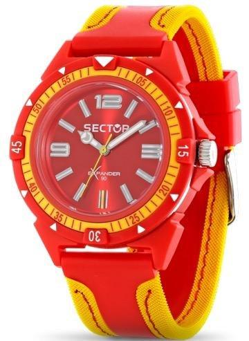 Sector  - Reloj de cuarzo para hombre, correa de cuero color rojo