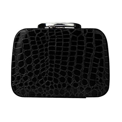 BZLine® Femme Trousse Maquillage en PU Cuir | Sac à Rangement/Boîte à Motif de Pièrre | Taille: 20 x 8 x 14CM (Noir)