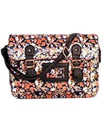 Latest Flower Printed Design Multicolour Silk Handbag Cum Sling Bag For Women & Girls By Bagris GE01001608
