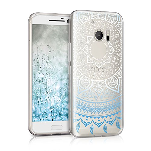 kwmobile HTC 10 Hülle - Handyhülle für HTC 10 - Handy Case in Blau Weiß Transparent