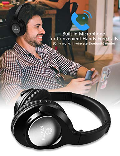 Bluetooth Over-Ear Kopfhörer - Atuten Kabellos Faltbare Ohrhörer Stereo Gaming Headphone mit Mikrofon für Alle Geräte mit Bluetooth/3.5mm Klinkenstecker - Kompatibel mit IOS Android - 5