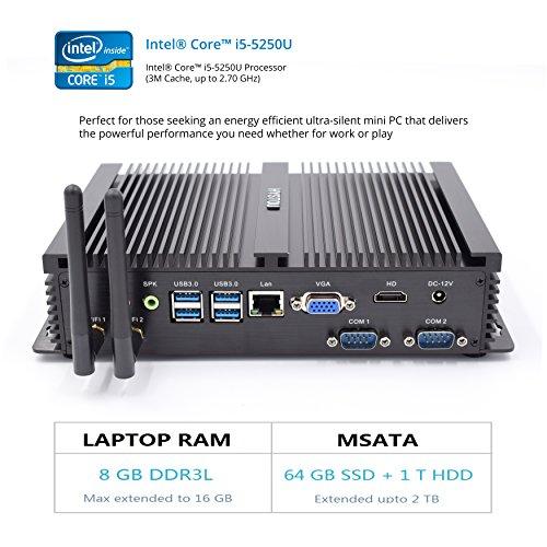 Preisvergleich Produktbild HYSTOU FMP04 Fanless Core i5, Gaming Mini Pc, Mini PC Desktop Computer with Intel Core i5 5250U 2.6Ghz 300M Wifi (8GB RAM 64GB SSD+1TB HDD)