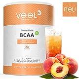 BCAA Pulver 2:1:1 mit unvergleichlichem Geschmack   Aminos Für Muskelaufbau, Abnehmen & Sport   (Leucin, Isoleucin, Valin) Hochdosiert – Vegan   Premium Qualität aus Deutschland – 300g ICE TEA PEACH
