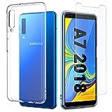 EasyAcc Transparente Coque + Verre Trempé écran Protecteur pour Samsung Galaxy A7 2018, Etui Transparent Antidérapant Samsung Galaxy A7 2018 Housse Cover Case en TPU