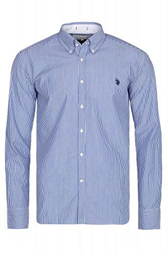 U.S. Polo Assn. Button Down Hemd Herren Langarm-Hemd Business-Hemd Blau Gestreift 104 42990 51908 733, Größenauswahl:L (Gestreift Button-down Polo Shirt)