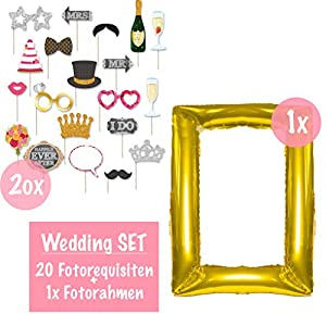 L+H Aufblasbarer Fotorahmen XXL Gold inkl. 20 Requisiten | Selfie Rahmen 85 x 60 und Fotorequisiten Set Kit | Ideal für Fotoautomat (Hochzeit)
