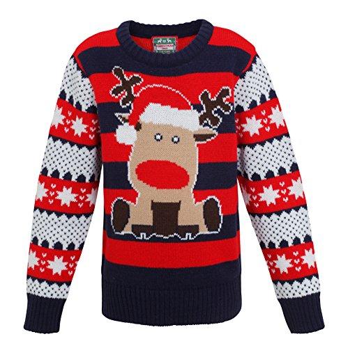 Christmas Shop Boys Reindeer Stripe Knitted Jumper/Sweater Kids Christmas Sweatshirt (2-3yrs, Navy/Red)