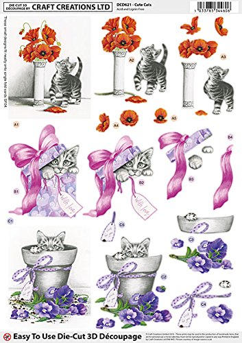 craft-creations-die-cut-3d-decoupage-dcd621-cute-cats-kittens-flowers-bows-a4-210x297mm-step-by-step
