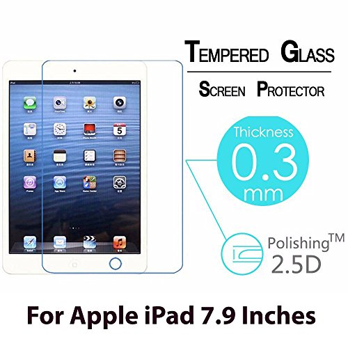 CASSIEY Amazing PRO+ 0.3 mm 2.5D 9H Hardness Anti-Explosion Tempered Glass Phone HD Screen Protector For Apple iPad Mini / Apple iPad mini 2 / Apple iPad mini 3 / Apple iPad mini 4 - Retail Packaging - Transparent With all Finger Print Sensor , Light Sensor , Camera Cutting and Installation Kit with Advanced Dust Remover