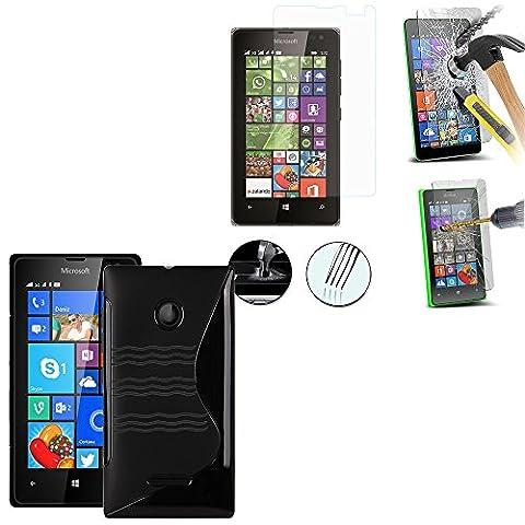 VCOMP® Microsoft Nokia Lumia 532/ 532 Dual SIM: Coque silicone gel motif S-Line Couleur: NOIR + 1 Film de protection d'écran Verre Trempé