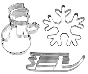 """Ausstechset """"Weihnachten 3"""" Schlitten - Schneemann - Eiskristall 3er-Set Keksausstecher Ausstecher Ausstechform"""